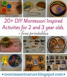 20+ DIY Montessori Inspired Activities for 2 and 3 year olds. | Montessori Nature