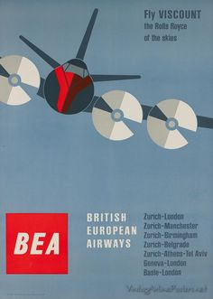 British European Airways (artist: Muller-Brockmann) Switzerland c. 1956 - Vintage Advertisment (Art Print Available) British European Airways, British Airline, European Airlines, Tel Aviv, Rolls Royce, Birmingham, Manchester, Vintage Travel Posters, Vintage Airline