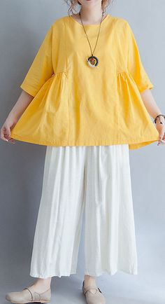Beautiful yellow o neck linen cotton clothes For Women Shirts half sleeve summer blouses – 2019 - Cotton Diy Girls Dresses Sewing, Stylish Dresses For Girls, Stylish Dress Designs, Simple Pakistani Dresses, Pakistani Fashion Casual, Pakistani Dress Design, Girls Frock Design, Frock Fashion, Sleeves Designs For Dresses