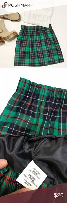 Small green plaid skirt Brand: J. Crew Small green plaid skirt Brand: J. Crew  Excellent condition,  material wool and polyester  length 17 inch Waist 13 inch (stretchy waist) J. Crew Skirts Mini