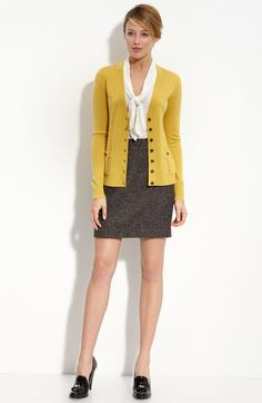 I have been obsessed with this color yellow lately. My classroom is ALWAYS freezing, and my cardigans are black or black. Going for the pencil skirt/ruffle shirt/colored cardigan look this year.     $79 #TeacherClothes