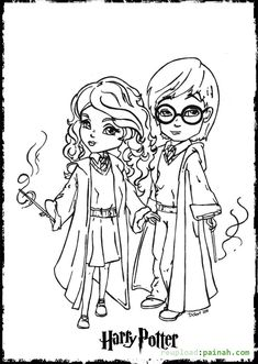 harry potter coloring pages printable cartoon cute - Harry Potter Coloring Pages