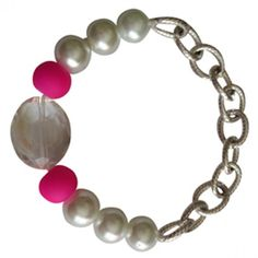 Alex Bunnie Pink and Pearl Bracelet (pearl beads and rubberized pink ones)