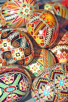 Traditional 'pysanky', or Ukrainian Easter eggs, that I made in the year 2013 (Made and photographed by Dave Melnychuk)