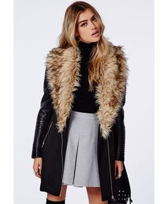 Faux Fur Jacket With Leather Sleeves
