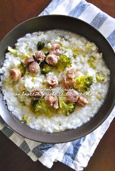 Riso-Minestra con broccoli e salsiccia croccante