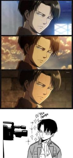 Rivaille is not impressed like always. But it makes a good shot.
