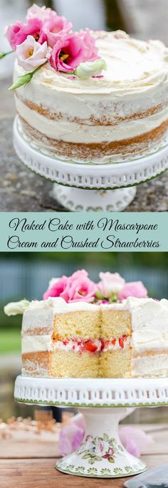 Light and airy vanilla sponge cake filled with fresh crushed berries and mascarpone cream!