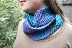 Teal & Purple Infinity Knit Scarf by CozyCafeKnits on Etsy, $30.00
