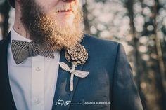 Pine cone boutonniere - Keri and Jon   Winter Wedding at Hinton Life Center in Hayesville