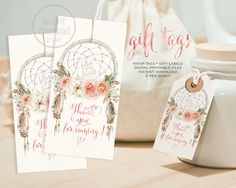Dreamcatcher favor gift tag boho watercolor. DIGITAL files. Instant download! Tribal bohemian shower wedding label thank you card. 054CMPEX