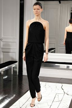 I don't usually go for jumpsuits, but I can't resist the black. #FW2013 #PFW #Balenciaga