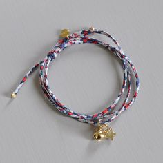 Bracelet Liberty et charms en plaqué or. Liberty and gold plated. Handmade in France. http://ticha.bigcartel.com