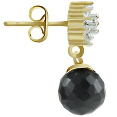 BLACK LOOK STONE & CZ GOLD PLATED SUPERSHINE FASHION EARRING JEWELRY 10551BLG