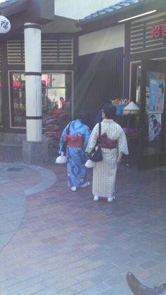 Women wearing traditional Japanese kimonos