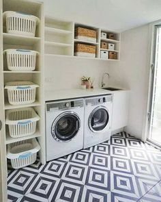 Laundry Room Design: Stunning 80 Beautiful Laundry Room Tile Pattern Id. Laundry Room Tile, Laundry Room Remodel, Small Laundry Rooms, Laundry Room Design, Laundry Room Organization, Laundry Basket Storage, Laundry Room Ideas Garage, Outside Laundry Room, Laundry Basket Holder