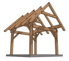 Timber frame shed.