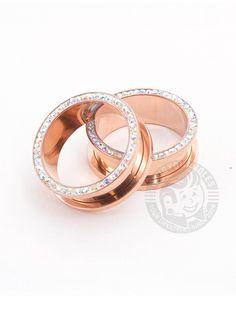A Pair of Rose Gold Entice Filigree Ear Gauge Tunnel Plug Gauges