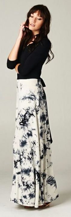 White and Black Dyed Maxi Dress