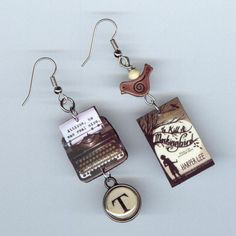 To Kill a Mockingbird Book and Typewriter Earrings at Etsy.