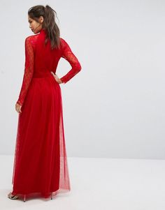 Little Mistress Pleat Front Maxi Dress With Lace Sleeve Detail - Red