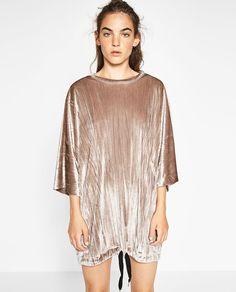 VELVET SACK-STYLE DRESS-NEW IN-TRF   ZARA United States