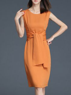Shop Midi Dresses - Orange Elegant Polyester Crew Neck Midi Dress online. Discover unique designers fashion at StyleWe.com.