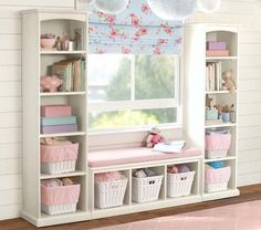 Window seat with bookshelves