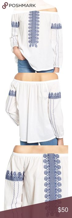 Madewell Folklore Off the Shoulder Top XS Beautiful Madewel off the shoulder blouse in XS, loose body & bracelet sleeves, only worn once! Color is pure white, semi-sheer- really beautiful! Madewell Tops Blouses