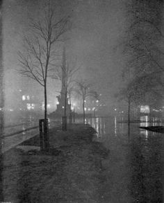 A Wet Night, Columbus Circle, 1898 by William A. Fraser