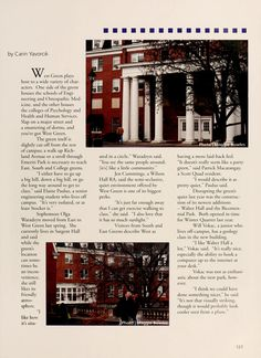 "Athena Yearbook, 2005. ""West Green plays host to a wide variety of characters. One side of the green houses the schools of Engineering and Osteopathic Medicine, and the other houses the colleges of Psychology and Heath and Human Services."" :: Ohio University Archives"