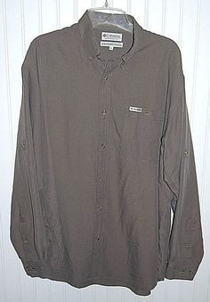 Columbia GRT Men's XL Brown Long Roll Up Sleeves Rayon Blend Button Front Shirt #Columbia #ButtonFront