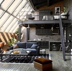 Loft House Design, Loft Interior Design, Home Room Design, Interior Architecture, Warehouse Living, Loft Interiors, Modern Loft, House Rooms, Home Office