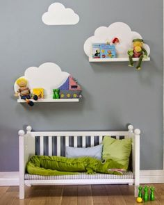 { DIY } cloud shelves using ikea ribba ledges and a wall decal (or paint directly onto wall) Baby Bedroom, Baby Boy Rooms, Nursery Room, Girls Bedroom, Nursery Decor, Nursery Ideas, Kids Rooms, Ikea Nursery, Nursery Shelves