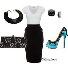 love the plain tshirt with the skirt- have the lace pencil skirt just need those shoes, hello!!