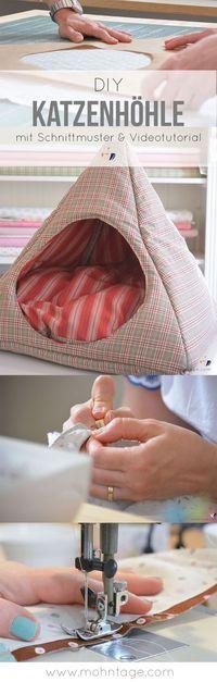 Diese Katzenhöhle kannst Du ganz einfach selber machen. Aus reiner Baumwolle ist sie sogar waschbar. Und deine Katze wird diese kuschelige selbstgemachte Katzenhöhle lieben. Oder Du kannst die Katzenhöhle nähen und für einen guten Zweck an einen Tierschut