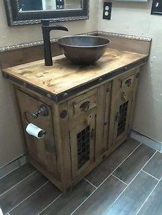 Details about Rustic Reclaimed Wood Dungeon Doors Bathroom Vanity Rustic Reclaimed Wood Dungeon Door Rustic Vanity, Rustic Bathroom Vanities, Rustic Bathroom Decor, Rustic Bathrooms, Bathroom Styling, Bathroom Fixtures, Bathroom Storage, Small Bathroom, Bathroom Ideas