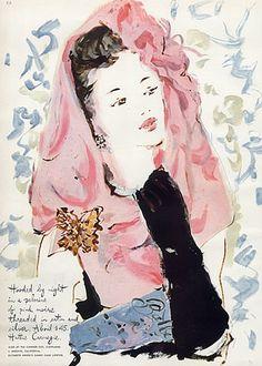 Hattie Carnegie, 1943, illustration by Marcel Vertes