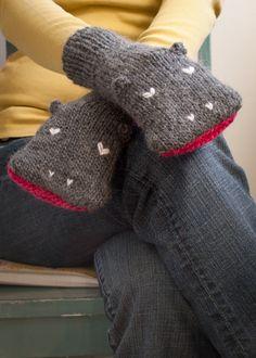 Knit Hippopotamus Mittens, from Knit Knit.