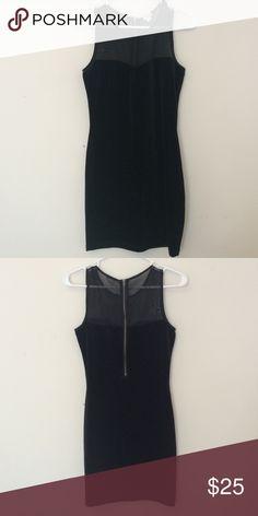 Black velvet mini Super trendy Velvet and mesh black mini dress Garage Dresses Mini