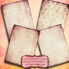 SHABBY WALLPAPER collage sheet SET 2, 8 designs, supplies for scrapbooking collage digital download