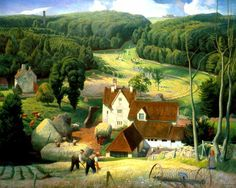 """Hay time in the Cotswolds"" 1939 James Bateman R.A.  The chimney of a mill rises from what are probably beechwoods in the background."