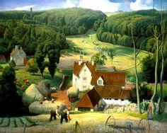 Haytime in the Cotswolds, 1939 Wall Art & Canvas Prints by James Bateman Landscape Art, Landscape Paintings, Fantasy Landscape, Farm Art, Art Uk, Naive Art, Valspar, Scenery, Illustration Art