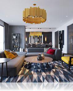 Oturma odasında geometrik dekorasyon