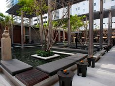 This award-winning hotel blends Asian Zen principles with a decidedly modern aesthetic. Lead designer and architect Jean-Michel Gathy created this peaceful outdoor water garden where guests can sit quietly at one with nature or enjoy sophisticated nibbles in sunken dining areas. Image courtesy of Oyster.com