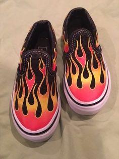 VANS kids fire flame shoes size 11 boys