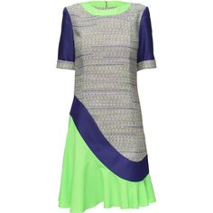 LATTORI Multi -Texture Lime Skirt Dress (1.998.465 IDR) ❤ liked on Polyvore featuring dresses, mullet dress, ruffle dress, loose fitting dresses, high low dresses and flutter-sleeve dress