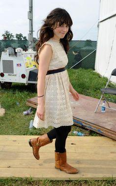 Zooey Deschanel, roper boots, white dress