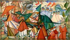 Corpus Christi procession, 1913 by Amadeo de Souza-Cardoso. Corpus Christi, Gouache, Modernisme, Inspiration Art, Fine Art Photo, Office Art, Art Design, Oeuvre D'art, Les Oeuvres