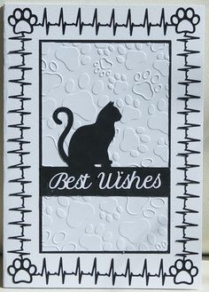Cat lover card: All elements cut on the Cameo; Darice paw print embossing folder